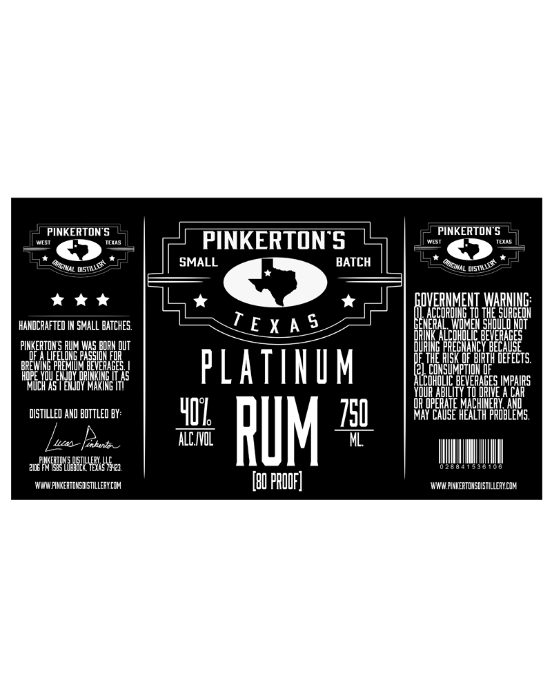 Image of Pinkerton's Distillery Platinum Rum lable.