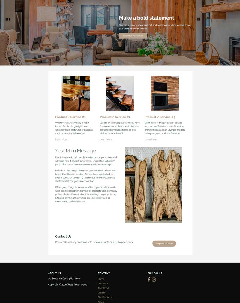 Image of Texas Pecan Wood website