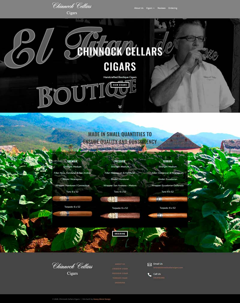 Chinnock Cellars Cigars website