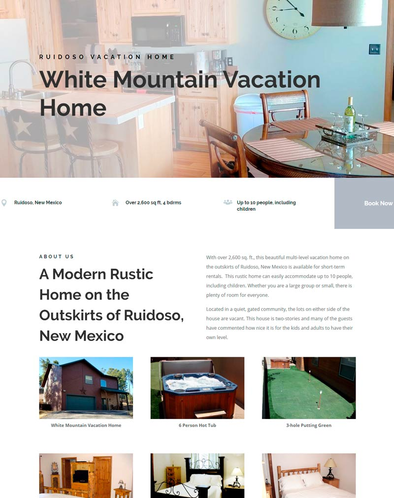 Image of White Mountain Vacation Home website