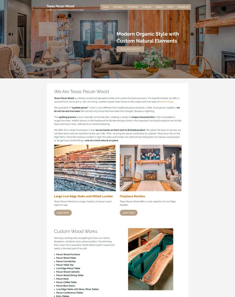 Texas Pecan Wood website Heavy Metal Design
